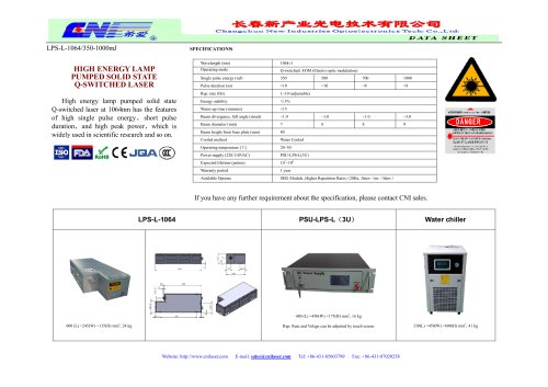 CNI/lamp pumped high energy laser/1064nm/Laser distance measuring/ Scientific experiment/ Optical instrument/ Marking Research/ Industry