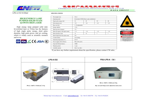 CNI/LPS-A-532 lamp pumped high energy laser/marking, engraving, research, optical instrument