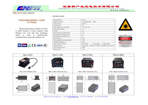 CNI/MDL-H-915/Diode infrared laser module at 915nm/measurement, communication, spectrum analysis
