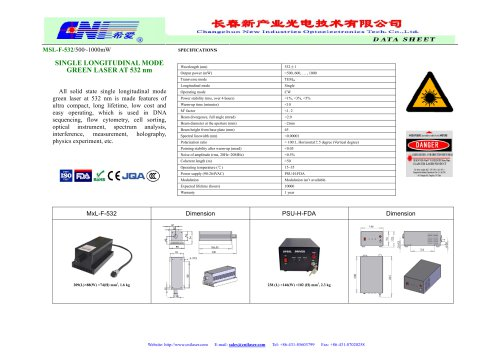 CNI/MSL-F-532 single longitudinal mode laser/DNA sequencing/ Flow cytometry/ Cell sorting/ Optical instrument/ Spectrum analysis/ Interference measurement/ Holography/ Physics experiment
