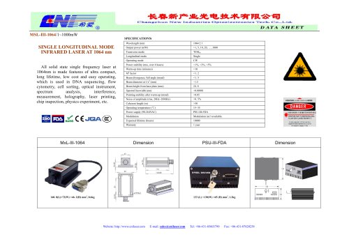CNI/MSL-III-1064 single longitudinal mode infrared laser at 1064nm/DNA sequencing/ Flow cytometry/ Cell sorting/ Optical instrument/ Spectrum analysis/ Interference measurement/ Holography/ Physics experiment