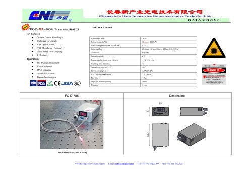 Fiber Coupled Laser System Data Sheet, FC-D-785 ~1000mW