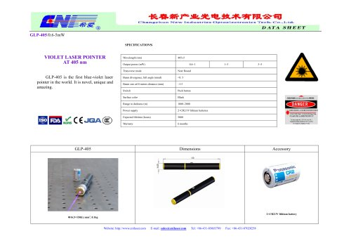 GLP-405 the first blue-violet laser pointer in the world from CNI
