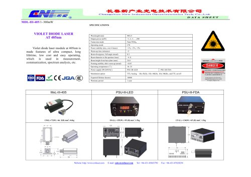 MDL-III-405 Violet diode laser module at 405nm from CNI