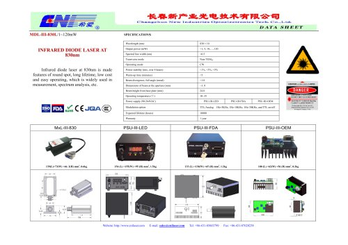 MDL-III-830L Infrared diode laser at 830nm from CNI