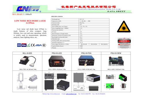 MLL-III-655 low noise red diode laser at 655nm from CNI
