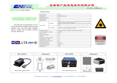 MPL-III-523.5 all solid state Q-switched laser from CNI