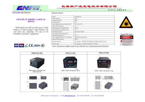OEM-HD-405 OEM diode blue laser at 405nm from CNI