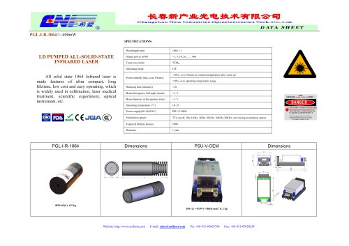 PGL-I-R-1064 All solid state 1064 infrared laser from CNI