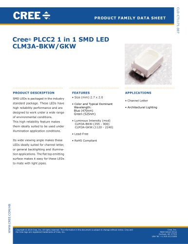 Cree® PLCC2 1 in 1 SMD LED CLM3A-BKW/GKW