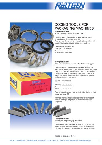 Coding Tools for packing machines