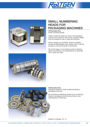 Small numbering heads for packaging machines