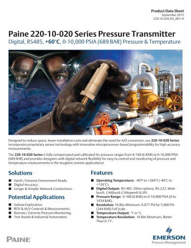 220-10-020 Series Digital Pressure and Temperature Transmitter