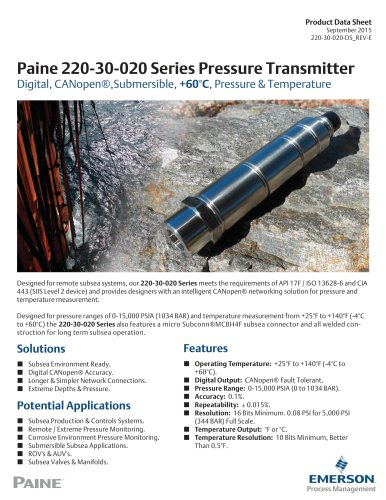 220-30-020 Series CANopen® Pressure and Temperature Transmitter