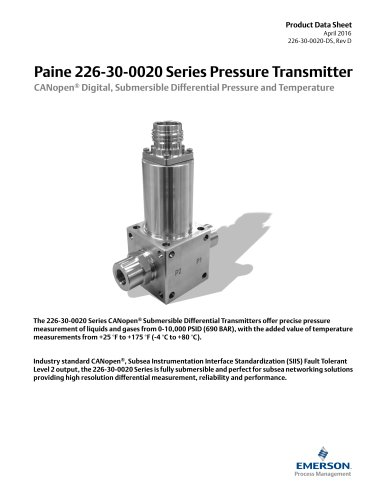 226-30-0020 Series CANopen® Digital Differential Pressure and Temperature Transmitter