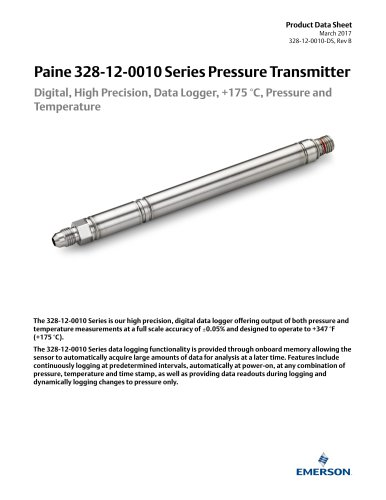 328-12-0010 Series Digital, High Precision, Data Logger Pressure and Temperature Transmitter