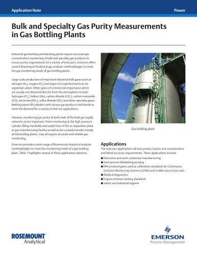 Bulk and Specialty Gas Purity Measurements in Gas Bottling Plants