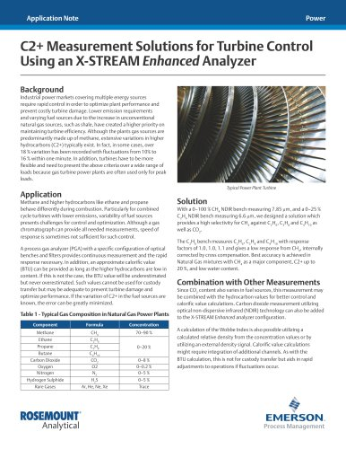 C2+ Measurement Solutions for Turbine Control Using an X-STREAM Enhanced Analyzer