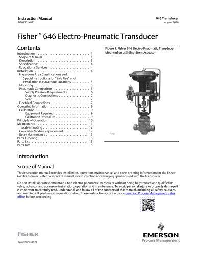 Fisher 646 Electro-Pneumatic Transducer