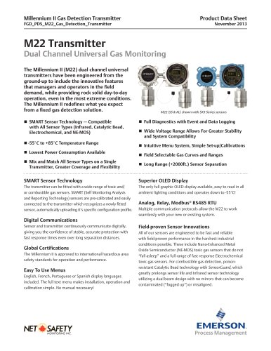Millennium II M22 Transmitter - Dual Channel Universal Gas Monitoring
