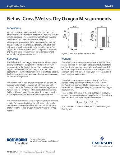 Net vs. Gross/Wet vs. Dry Oxygen Measurements