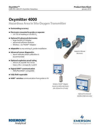 Oxymitter 4000 Hazardous Area In Situ Oxygen Transmitter