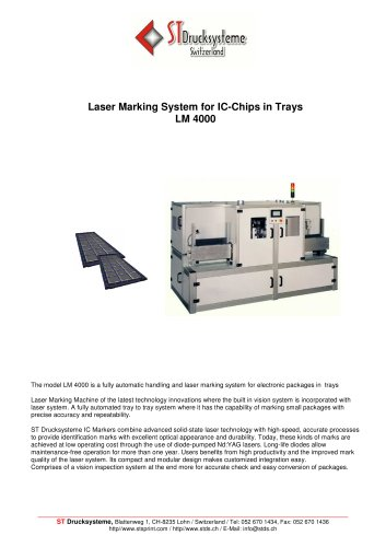 LM-4000 Laser marking system for IC´s in single form
