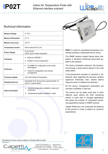 IP02T - Indoor Air Temperature Probe with Ethernet interface onboard