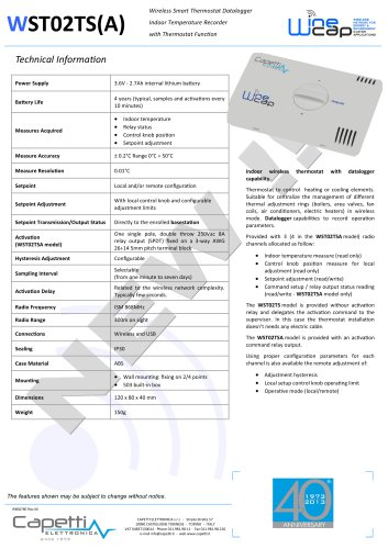 WST02TS(A) - Wireless Smart Thermostat Datalogger