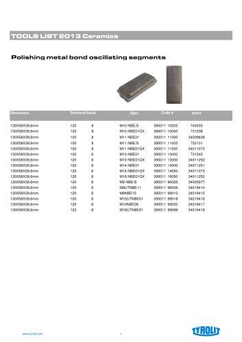 Polishing metal bond oscillating segments