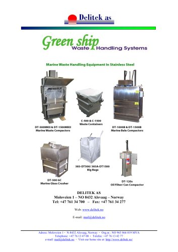 Green Ship Waste Compactors Detailed Product Spec