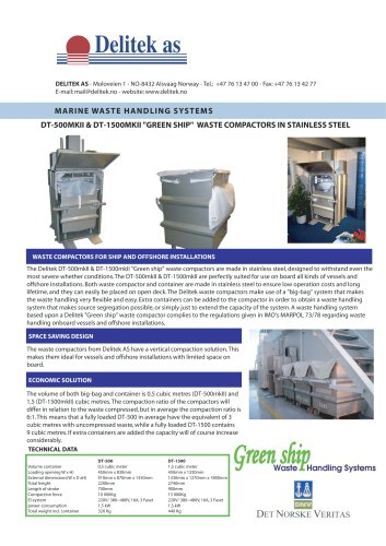 Waste compactor in stainless steel