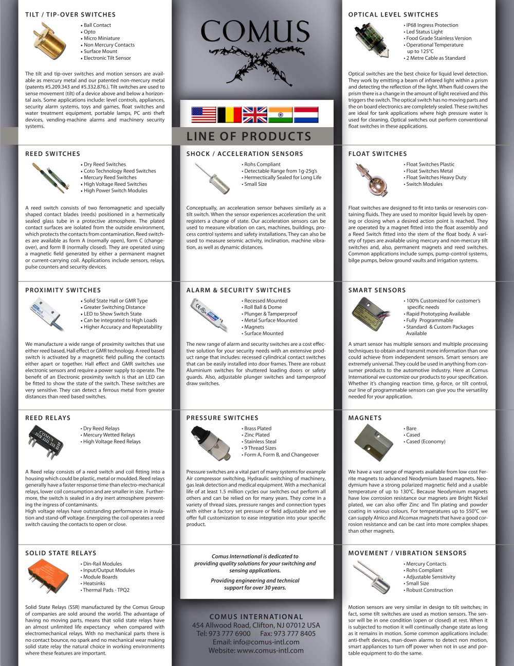 Comus Group Line Of Products The Pdf Catalogue Reed Switches And Hall Effect Sensors 1 2 Pages