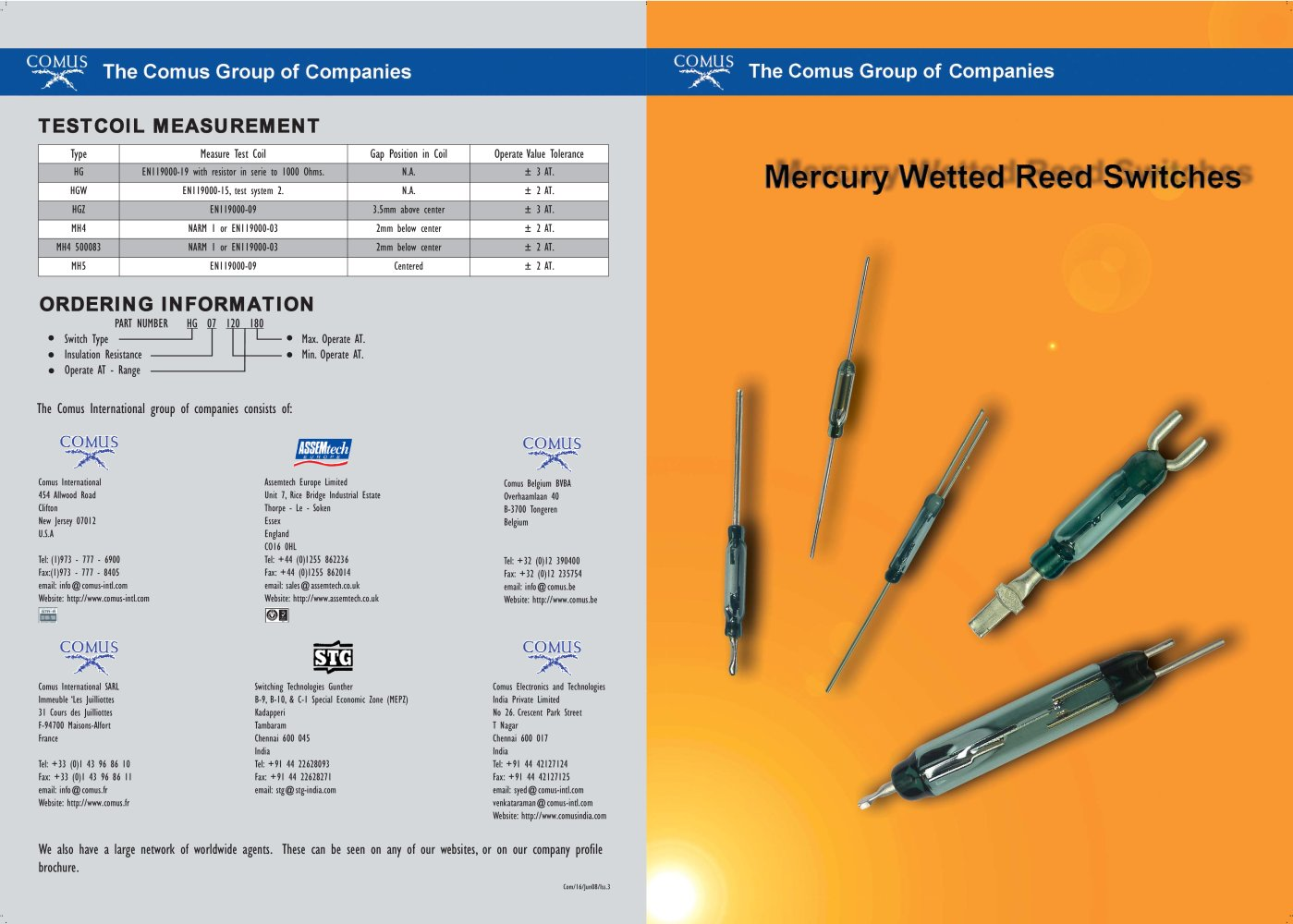 Reed Switches The Comus Group Pdf Catalogue Technical Relay Contact Protection Diagram 2 Mercury Wetted