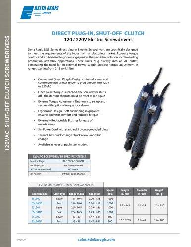 120V/220V AC Direct Plug-In, Shut-off Clutch