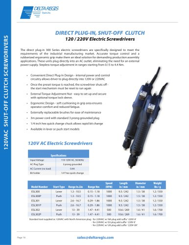Direct Plug-In - 120 VAC / 220 VAC - Shut-Off Clutch Screwdrivers
