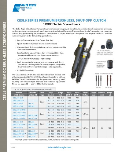 Error Proof Assembly - Count - Fasten - Verify - With 32 VDC Premium Brushless Precision Clutch Electric Screwdrivers Torque Range 0.02-1.86 NM