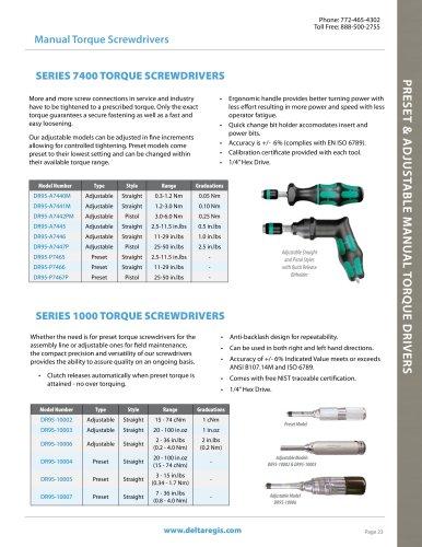 Manual Torque Screwdrivers, Adjustable and Preset