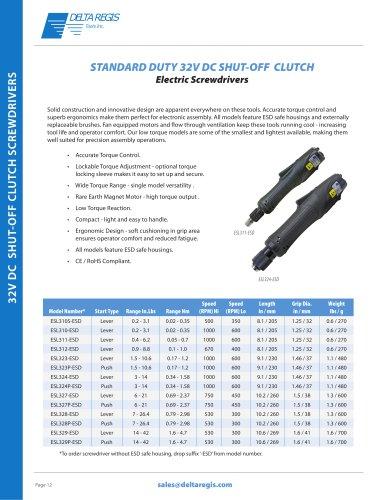 Standard Duty - 32 VDC Electric Screwdrivers - Torque Range 0.02 NM - 4.70 NM