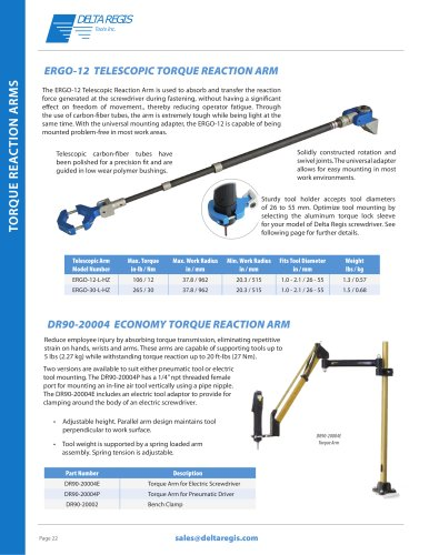 Torque Reaction Arms, Tool Balancers, Tool Stands, Tool Support