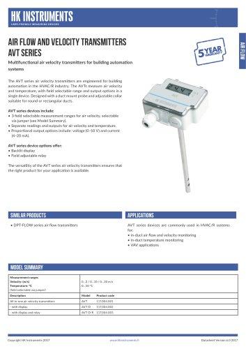 AVT Air velocity transmitter