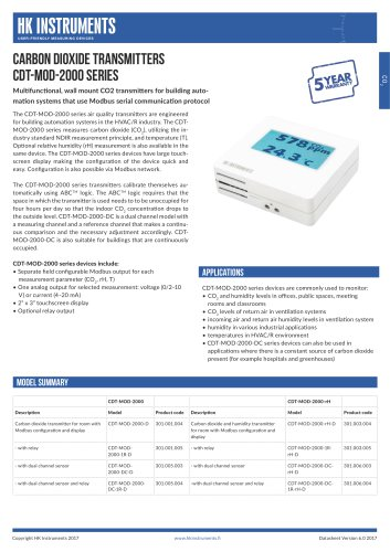 CDT-MOD CO2 transmitter for room with Modbus