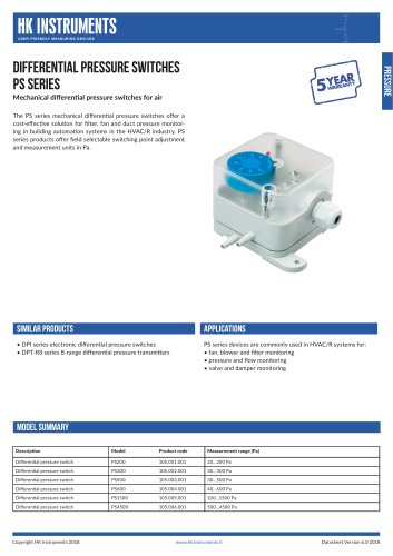 DIFFERENTIAL PRESSURE SWITCHES PS Series