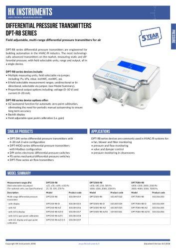 DIFFERENTIAL PRESSURE TRANSMITTERS DPT-R8 Series