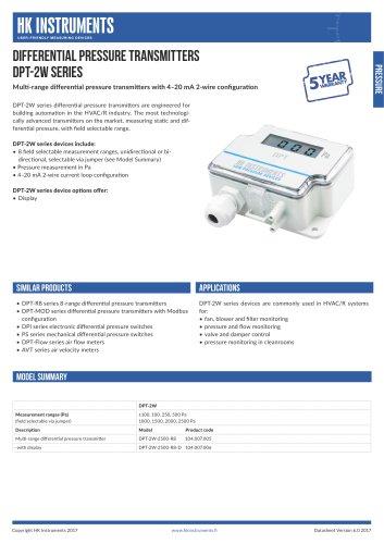 DPT-2W Differential pressure transmitter, 2-wire