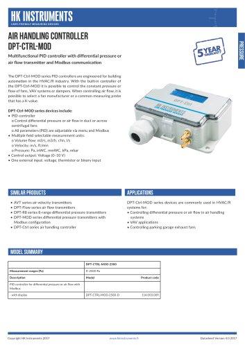 DPT-Ctrl-MOD Air handling controller with Modbus