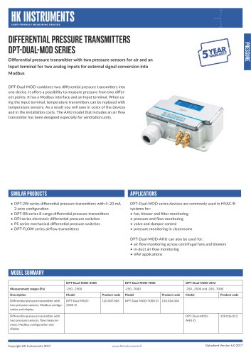 DPT-Dual-MOD Differential pressure transmitter with two pressure sensors and Modbus