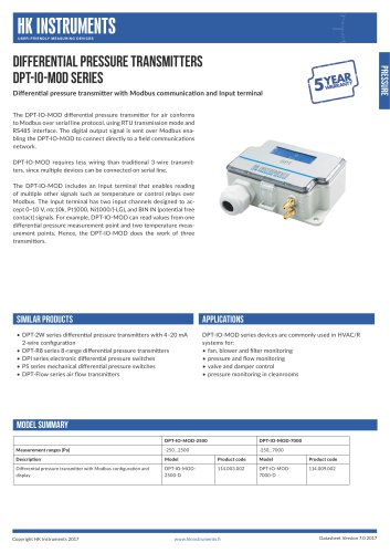 DPT-IO-MOD Differential pressure transmitter with Input terminal and Modbus