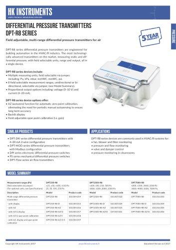 DPT-R8 Differential pressure transmitter, 8-range