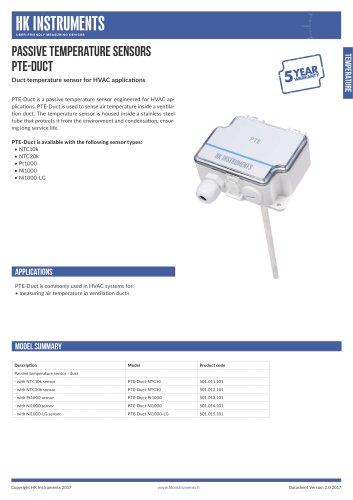 PTE-Duct Duct temperature sensor